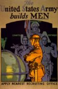 Vintage War Poster The United States Army builds men. Apply nearest recruiting office.